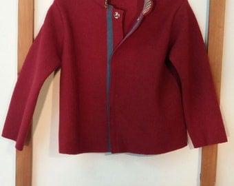 Boiled wool jacket Burgundy
