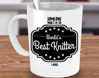 Knitting Coffee Mug ~ Gifts for Knitters, Knitting Gifts, Knitting Mugs ~ 11 or 15 oz White Ceramic Mugs