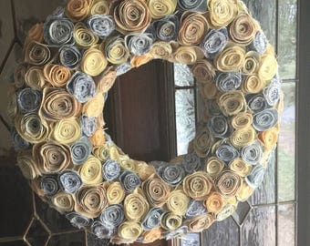 Fabric flower wreath, year round wreath, fabric wreath, all seasons wreath, summer wreath, fixer upper, everyday wreath, front door wreath