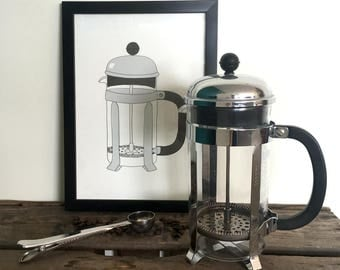 Cafetière / French press / Coffee maker illustration - A4 print