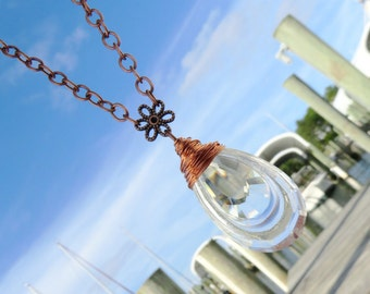 Lovely Double Teardrop Chandelier Crystal Necklace // Copper Wire Wrapped Crystal Prism Necklace // Crystal Prism Necklace