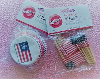Patriotic-Cupcake Liners & Flag Picks