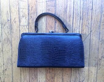 SALE! 1950's/60's Embossed Black Leather Handbag, Theodor of California, Vintage Handbag, Excellent Condition