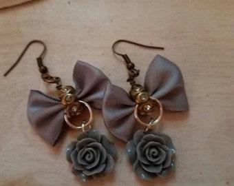 Bow Rose dangle earrings