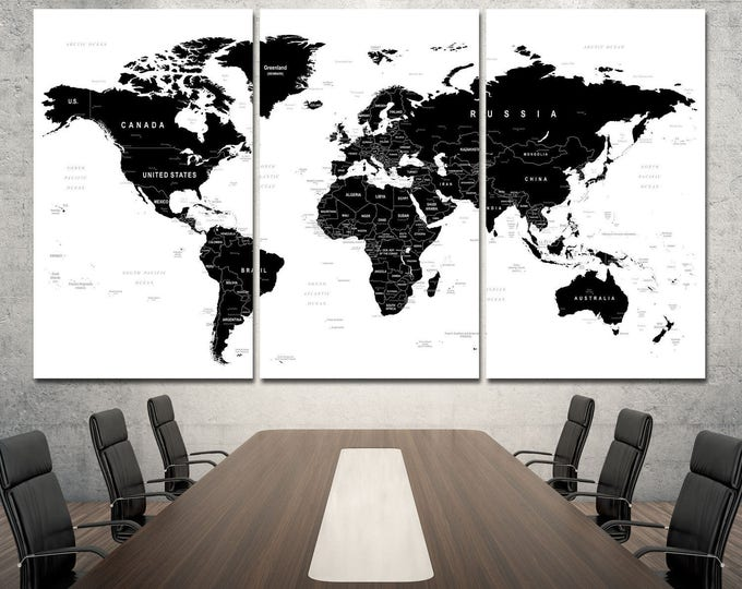 Black world map wall art with countries names canvas print, large black and white home decor world map canvas print set, modern world map