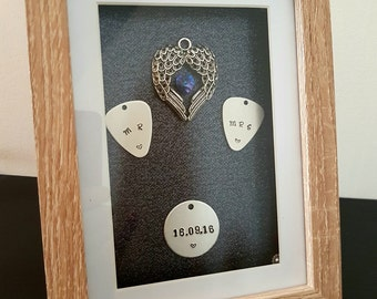 Personalised Wedding Gift Hand-stamped Swarovski Heart Pick and Angel Wings Box Frame