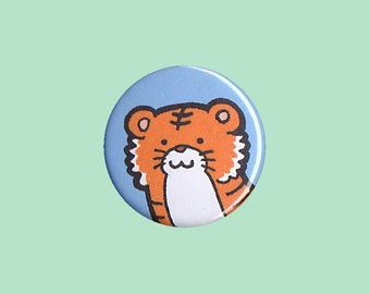 Tiger Badge - tiger pin, tiger button, kid's button, children's badge, cute button