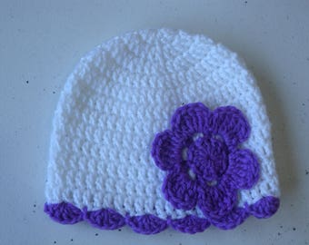 Crochet cloche with crochet flower in bright white and purple 6-12 months old