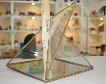 Large Energy Charging Pyramid, Glass and Brass 23 cm