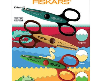 Fiskars Kidzors Pack of 3 Scissors - Swamp Creatures - Left or Right handed - Age 5+