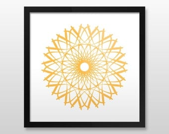 "Geometric Wall Art, Yellow, Framed Poster, 8 colors, 10x10"", 12x12"", 14x14"", 16x16"", 18x18"""