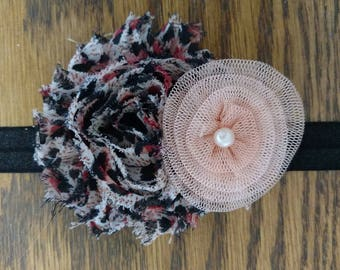 Black, Pink, and Peach Shabby with Peach Coil Accent Headband - Custom Size