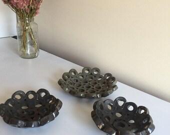 Set of 3 Hand Built Decorative Ceramic Bowls