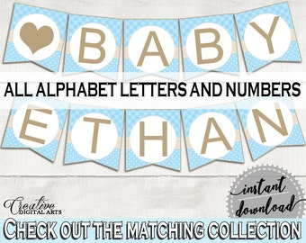 Banner, Baby Shower Banner, Blue Lamb Baby Shower Banner, Baby Shower Blue Lamb Banner Blue party banner, decor all letters - fa001