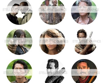 The Walking Dead - 1 inch circle images, bottlecap, cupcake topper, zombie - INSTANT DOWNLOAD