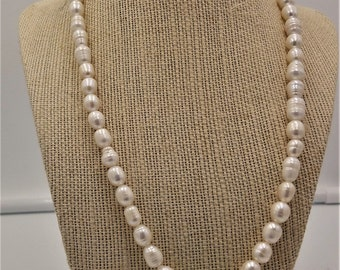 """Elegant freshwater pearl necklace with light blue flower  18"""""""