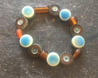 Czech glass and turquoise colored ceramic beaded stretchy bracelet