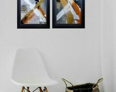 Abstract Painting Set of Two on Canvas Painting Original Art Gold Black Textured Set of 2 Paintings / Art Gift Set Wall Art Original