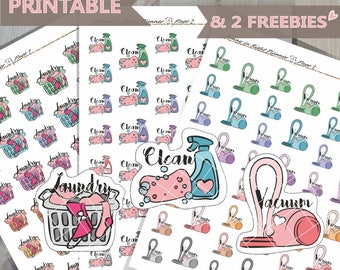 Cleaning Functional Stickers,Cleaning routine Planner Stickers,To Clean Sticker,Printable planner Stickers,Vacuum Stickers,Laundry stickers
