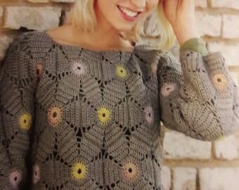 Grey flowers sweater-oversized-size TU