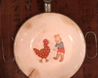 Vintage Porcelain Hot Water / Warming Child's Cereal Bowl - Raggedy Andy