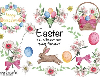 Easter clipart set, easter illustrations, spring clipart, spring illustrations, easter wreath, easter bunny clipart png