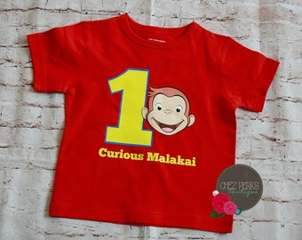 Curious George Birthday Shirt,Onesie, Curious George Birthday, First Birthday George Shirt,Onesie