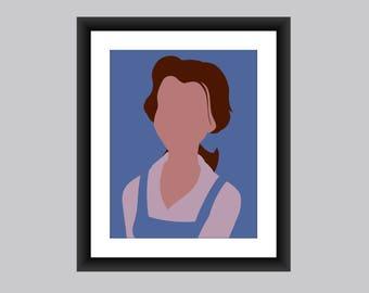 Belle, Princess, Beauty and the Beast, Minimalist Art Prints, Disney wall art, Disney prints, home decor, digital download, Belle printable