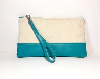 Natural Canvas and Teal clutch, Wristlet, Handbag, Purse, Casual Bag