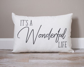 It's A Wonderful Life Pillow | Christmas Pillow | Holiday Pillow | Christmas Gift | Rustic Home Decor | Holiday Decor | Christmas Decor