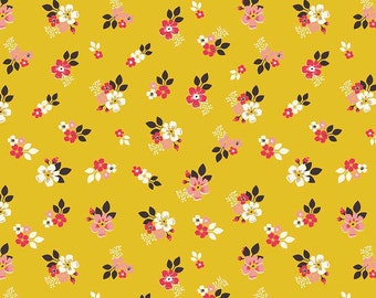 Vintage Floral Gold, Riley Blake Designs, Flowers, 100% Quilting Cotton Fabric, Choose your Cut