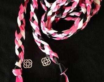 Hot Pink, Black, White Handfasting Ceremony Braid- Celtic Knot- 6 feet- Fast Shipping-Wedding- Wedding- Handfasting