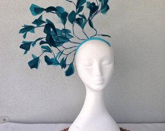 Ladies teal feather headband fascinator