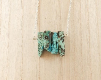Raw Ocean Jasper Bar Pendant On Silver Chain With Toggle Clasp, Perfect Christmas Gift For Her/Mum/Sister/Bestfriend/Girlfriend