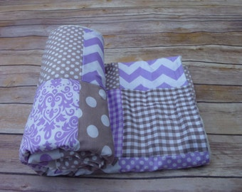 Grey, and light purple Blanket, Baby Boy Blanket, Minky Blanket, Nursery Decor, lilac, grey, gray Nautical, Chevron, Nursery Decor