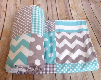 Aqua and Grey Blanket, Baby Boy Blanket, Minky Blanket, Nursery Decor, grey, gray, aqua, robbins egg blue, Chevron, Nursery Decor