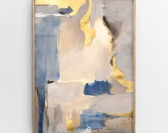 Original Abstract Painting with Gold Leaf, Contemporary Wall Art, Modern Mixed Media Artwork