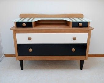Mid Century Wooden Dressing table, Chest of Drawers. Upcycled & Painted in monochrome black and white, Retro