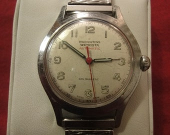 Vintage 17 Jewels Bravington Wetrista 1950s automatic Swiss watch.