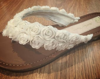 Ivory or White Rose Bridal Flip Flops Thongs