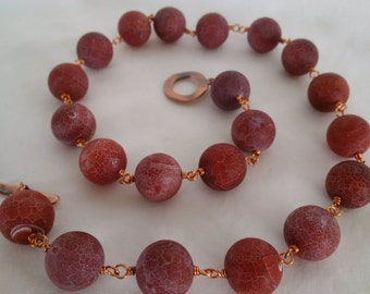 Red Crab Fire Agate and Copper Necklace