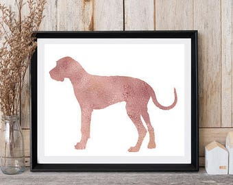 Great Dane Art Dog lovers gift Dog breed artwork Printable Wall Art Great Dane Animal print art Nursery art Rose gold print Card