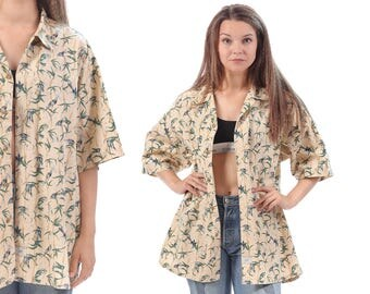 Hawaiian Shirt 80s PALM and Birds Print Blouse Jungle Men Women Unisex Button Up Oversize Vintage Surfer Printed Short Sleeve Beige Large XL