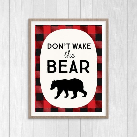 Don T Wake The Bear Rustic Nursery Print Buffalo Plaid