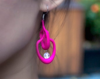 Magenta 3d Printed Earrings with Translucent Beads | Petal Earrings in Magenta