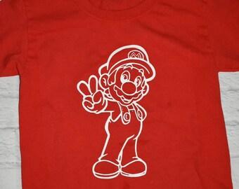 Mario brothers inspired shirt,  Mario, red, mens, boys
