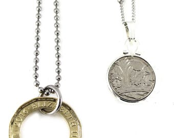 Set of Two UK Genuine New Error One Pound Coin Interlocking Lover Necklace, Couple Necklace, Very Rare Coin.