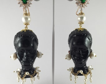 Black moor earrings