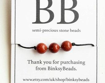 Red Jasper semi precious stone crystal beaded choker necklace