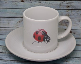Espresso set, Ladybug watercolour 6oz Espresso set, Ceramic Espresso cup & saucer, Coffee Lover Gift, Ladybug gift, personalised